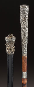 Decorative Arts, Continental:Other , A GILT, SILVERED METAL AND WOOD CANE WITH A SILVER AND WOOD CANE .J. Howell & Co. Ltd., Birmingham, England, circa 1921-192...(Total: 2 Items)