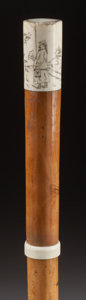 Decorative Arts, Continental:Other , AN IVORY AND WOOD TEA TASTING CANE. Circa 1900 . 36-1/4 inchesoverall length (92.1 cm). The system cane has ivory handle ...