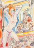 American:Modern, MARTIN FREDERICK KAELIN (American, b. 1926). Gawkers at theStrip Club, New Orleans, LA. Watercolor on paper. 12 x 9 inc...