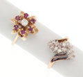 Estate Jewelry:Rings, Diamond, Ruby, Gold Rings. ... (Total: 2 Items)