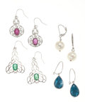 Estate Jewelry:Earrings, Multi-Stone, White Gold Earrings. ... (Total: 4 Items)