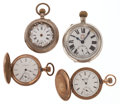 Timepieces:Pocket (post 1900), Two Swiss Silver & Two Gold Filled Pocket Watches For Parts OrRepair. ... (Total: 4 Items)