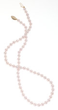 Estate Jewelry:Necklaces, Cultured Pink Pearls, Gold Necklace. ...