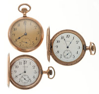 Three 12 Size Pocket Watches For Parts Or Repair