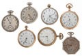 Timepieces:Pocket (post 1900), Seven 12 Size Pocket Watches For Parts Or Repair. ... (Total: 7 Items)