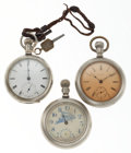 Timepieces:Pocket (post 1900), Three 18 Size Pocket Watches For Parts Or Repair. ... (Total: 3Items)