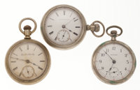 Three 18 Size Pocket Watches For Parts Or Repair