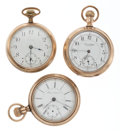 Timepieces:Pocket (post 1900), Three 18 Size Gold Filed Pocket Watches For Parts Or Repair. ...(Total: 3 Items)