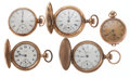 Timepieces:Pocket (post 1900), A Lot Of Five Lady's Gold Filled Pocket Watches For Parts Or Repair. ... (Total: 5 Items)