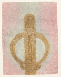 RUFINO TAMAYO (Mexican, 1899-1991) Personaje con Red, 1982 Mixograph in colors on handmade paper