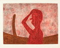 Works on Paper, RUFINO TAMAYO (Mexican, 1899-1991). Busto en Rojo, 1984. Mixograph in colors on handmade paper. 22-1/2 x 30 inches (57.2...