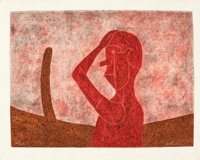 RUFINO TAMAYO (Mexican, 1899-1991) Busto en Rojo, 1984 Mixograph in colors on handmade paper 22-1