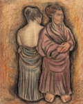 Latin American:Contemporary, HECTOR XAVIER (Mexican, 1921-1994). Untitled (two figures),1948. Conte crayon on board. 28-1/2 x 22-1/2 inches (72.4 x ...