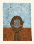 Works on Paper, RUFINO TAMAYO (Mexican, 1899-1991). Cabeza sobre Fondo Azul, 1984. Mixograph in colors on handmade paper. 30-1/4 x 22 in...