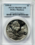 Modern Issues: , 1999-P $1 Dolley Madison Silver Dollar PR69 Deep Cameo PCGS. PCGSPopulation (2578/275). NGC Census: (1993/422). Numismedi...