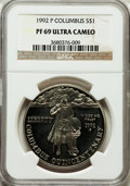 Modern Issues: , 1992-P $1 Columbus Silver Dollar PR69 Ultra Cameo NGC. NGC Census:(2248/44). PCGS Population (2442/48). Mintage: 385,241. ...