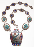 Estate Jewelry:Necklaces, Zuni, Multi-Stone Inlay, Bird, Silver Necklace, RN Laconsello. ...