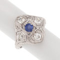 Estate Jewelry:Rings, Art Deco, Synthetic Sapphire, Diamond, Platinum Topped Gold Ring. ...