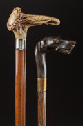 Decorative Arts, Continental:Other , A STAGHORN AND WOOD ELEPHANT CANE WITH AN ELKHORN AND WOOD DOGCANE. Circa 1900 . 33-1/2 inches overall length (85.1 cm) (e...(Total: 2 Items)