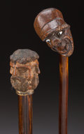 Decorative Arts, Continental:Other , AN UNUSUAL METAL AND WOOD ILLUSION OF FACES CANE WITH A WOODMR. PUNCH CANE . Circa 1900. 36-1/2 inc... (Total: 2 Items)