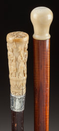 Decorative Arts, Continental:Other , A SILVER, IVORY AND WOOD NARRATIVE CANE WITH AN IVORY AND WOODSMOOTH KNOB CANE . Circa 1900. 37-1/4 inches overall length (...(Total: 2 Items)