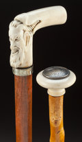 Decorative Arts, Continental:Other , AN IVORY AND WOOD MEPHISTOPHELES CANE WITH A DAMASCENE, IVORY ANDWOOD CANE . Circa 1900. 35 inches overall length (88.9 cm...(Total: 2 Items)