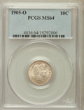 Barber Dimes: , 1905-O 10C MS64 PCGS. PCGS Population (26/45). NGC Census: (50/22).Mintage: 3,400,000. Numismedia Wsl. Price for problem f...