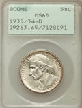 Commemorative Silver: , 1935/34-D 50C Boone MS65 PCGS. PCGS Population (244/241). NGCCensus: (156/178). Mintage: 2,003. Numismedia Wsl. Price for ...