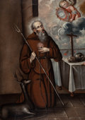 Latin American, SPANISH SCHOOL (18th Century). St. Francis of Assisi (SanFrancesco d'Assisi). Oil on canvas laid on aluminum honeycomb...