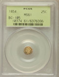 California Fractional Gold: , 1854 25C Liberty Octagonal 25 Cents, BG-105, R.3, MS61 PCGS. PCGSPopulation (13/196). NGC Census: (3/46). ...