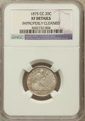 Twenty Cent Pieces: , 1875-CC 20C -- Improperly Cleaned -- NGC Details. XF. NGC Census:(20/470). PCGS Population (68/633). Mintage: 133,290. Num...