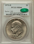 Eisenhower Dollars: , 1973-D $1 MS66 PCGS. CAC. PCGS Population (287/11). NGC Census: (66/2). Mintage: 2,000,000. Numismedia Wsl. Price for probl...