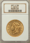 Liberty Double Eagles: , 1857-S $20 AU50 NGC. NGC Census: (88/695). PCGS Population(60/322). Mintage: 970,500. Numismedia Wsl. Price for problem fr...
