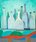 American:Modern, VLADIMIR CORA (American/Mexican, b. 1951). Bottles, 1985.Oil on canvas. 39 x 33 inches (99.1 x 83.8 cm). Signed and dat...