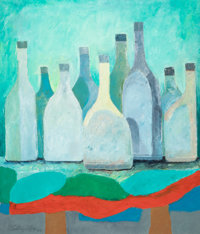 VLADIMIR CORA (American/Mexican, b. 1951) Bottles, 1985 Oil on canvas 39 x 33 inches (99.1 x 83.8