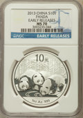 China:People's Republic of China, 2013 10 Yuan Panda Silver (1 oz), Early Releases MS70 NGC. NGC Census: (0). PCGS Population (4954)....