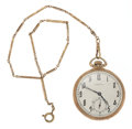 Timepieces:Pocket (post 1900), Hamilton 14k Gold 12 Size With 14k Gold Chain & Box. ...