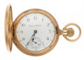 Timepieces:Pocket (post 1900), Hampden 17 Jewel 18k Gold Hunter's Case Pocket Watch. ...