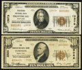 National Bank Notes:Maryland, Frostburg, MD - $20 1929 Ty. 2 Frostburg NB Ch. # 13979. Towson, MD- $10 1929 Ty. 2 The Towson NB Ch. # 3588. ... (Total: 2 items)