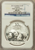 China:People's Republic of China, 2013 10 Yuan Panda Silver (1 oz), First Releases MS69 NGC. PCGS Population (3711/4954)....