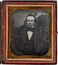 Photography:Studio Portraits, Sixth-Plate Daguerreotype of a Man with Chapultepec Castle Backdrop, circa 1850....