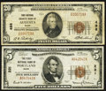 National Bank Notes:Maine, Augusta, ME - $20 1929 Ty. 1 First National Granite Bank Ch. # 498. Portland, ME - $5 1929 Ty. 1 The First NB Ch... (Total: 2 notes)