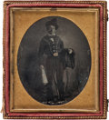 Photography:Studio Portraits, Sixth-Plate Portrait of a (Possible) Texas Ranger Disguised as a Mexican Vaquero, circa 1848. ...