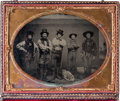"Photography:Ambrotypes, [John S. ""Rip"" Ford]. Half-Plate Ambrotype Featuring Five ArmedMen, circa 1858-1860...."