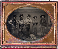 "[John S. ""Rip"" Ford]. Half-Plate Ambrotype Featuring Five Armed Men, Circa 1858-1860"