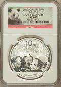China:People's Republic of China, 2013 10 Yuan Panda Silver (1 oz), Early Releases MS69 NGC. NGC Census: (11720/13439). PCGS Population (3711/4954)....