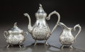 Silver Holloware, Continental:Holloware, A THREE-PIECE GERMAN SILVER DEMI COFFEE SERVICE. Circa 1900. Marks:(crescent-crown), 800. 7-3/4 inches high (19.7 cm). ...(Total: 3 Items)