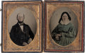 Photography:Tintypes, Texas Ranger Taylor Smith and Wife Quarter-Plate Tintypes (2),circa 1858. ...