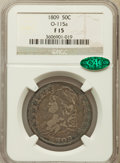 Bust Half Dollars, 1809 50C Normal Edge Fine 15 NGC. CAC. O-115a. NGC Census: (7/753).PCGS Population (35/607). Mintage: 1,405,810. Numismedi...