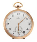 Timepieces:Pocket (post 1900), Omega 14k Rose Gold Pocket Watch. ...